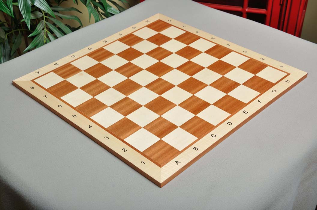 """USCF Sales Folding Mahogany and Maple Wooden Chess Board 2.25/"""" With Notation /&"""