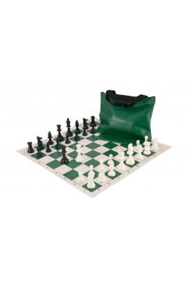Standard Chess Set Combination - Solid Plastic Regulation Pieces | Vinyl Chess Board | Standard Bag