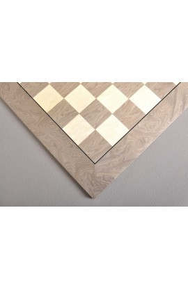 """Grey Erable and Bird's Eye Maple Standard Traditional Chess Board - Gloss Finish - 2.375"""""""