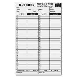 official us chess self duplicating score sheets pack of 100 sheets
