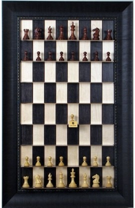Straight Up Chess Board - Black Maple Board with Rugged Expresso Frame
