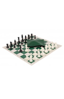 Basic Chess Set Combination - Solid Plastic Regulation Pieces | Vinyl Chess Board | Basic Bag