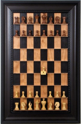 Straight Up Chess Board - Black Cherry Series with Brown Traditional Frame