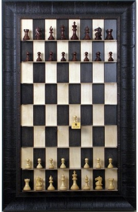 Straight Up Chess Board - Black Maple Board with the Rustic Brown Frame