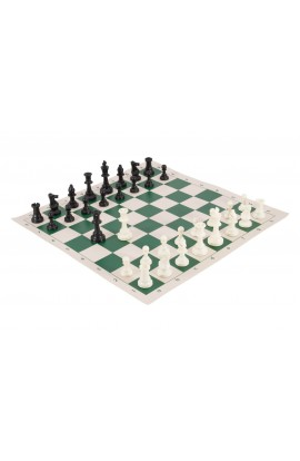 Regulation Tournament Chess Pieces and Chess Board Combo - SOLID PLASTIC