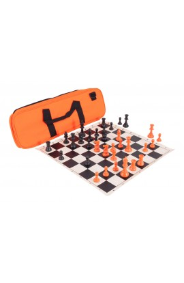 Halloween Deluxe Triple Weighted Chess Set Combination - Triple Weighted Regulation Pieces | Vinyl Chess Board | Deluxe Bag