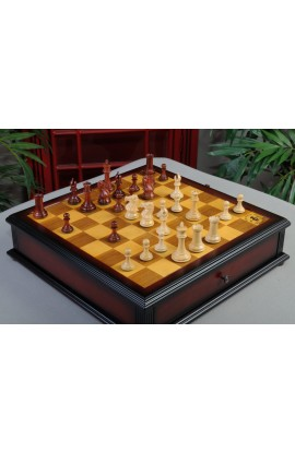 "IMPERFECT - The Collector Series Luxury Chess Pieces - 3.0"" King - Padauk & Natural Boxwood"