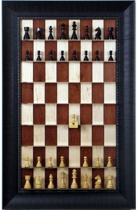 Straight Up Chess Board - Red Maple Series with Rugged Expresso Frame