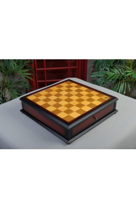 "IMPERFECT - Walnut and Maple Classical Tiroir Chessboard with Storage Drawers - 1.75"" Squares"