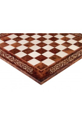 """INLAID - Elm Burl & Maple Superior Traditional Chessboard - 2.5"""" - Gloss Finish"""