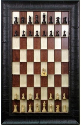 Straight Up Chess Board - Red Maple Series with Rustic Brown Frame