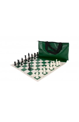 Superior Chess Set Combination - Solid Plastic Regulation Pieces | Vinyl Chess Board | Superior Bag