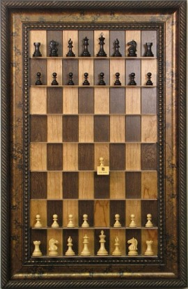 """Straight Up Chess Board - Cherry Bean Board with 3 1/2"""" Black Gold Frame"""