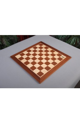 "IMPERFECT - Mahogany Wooden Tournament Chess Board - 1.75"" Squares - w/Notation & Logo"