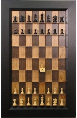 """Straight Up Chess Board - Cherry Bean Board with 3"""" Flat Black Frame"""