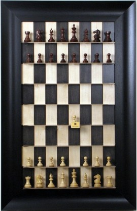 """Straight Up Chess Board - Black Maple Series with 3 1/2"""" Wide Scoop"""