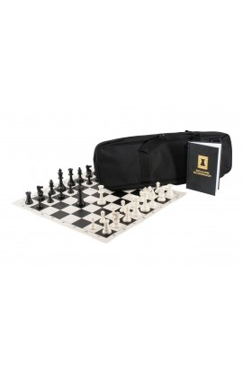 The Chess Player's Combination - Triple Weighted Regulation Pieces | Vinyl Chess Board | Deluxe Bag | Luxe Scorebook