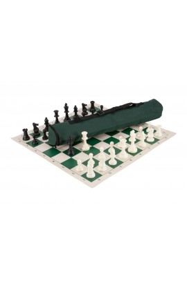 Quiver Chess Set Combination - Solid Plastic Regulation Pieces | Vinyl Chess Board | Quiver Bag