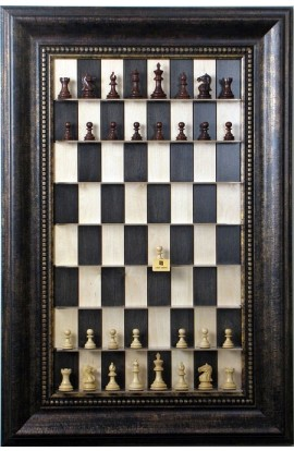 """Straight Up Chess Board - Black Maple Board with the 4 1/4"""" Wide Antique Bronze Frame"""