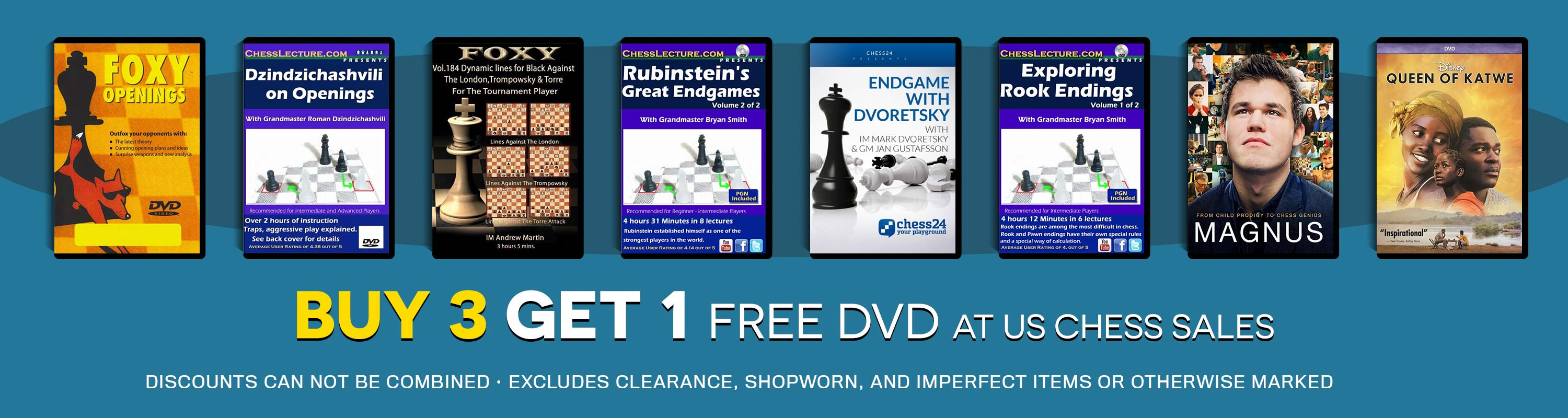 Buy 3 Get 1 Free DVD from US Chess Sales