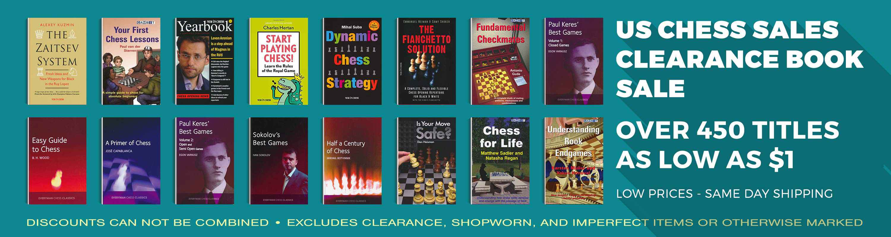 US Chess Sales Clearance Book Sale! Over 450 Titles as low as $1!