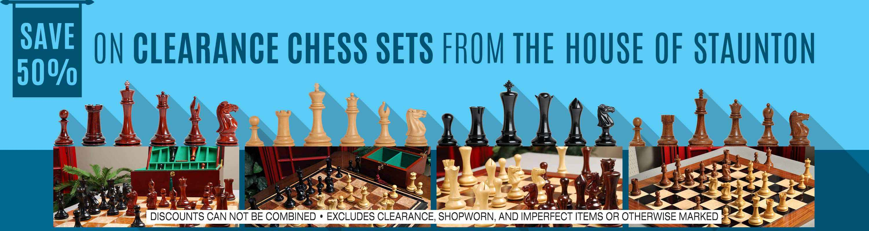 Save 50% on clearance chess sets from The House of Staunton
