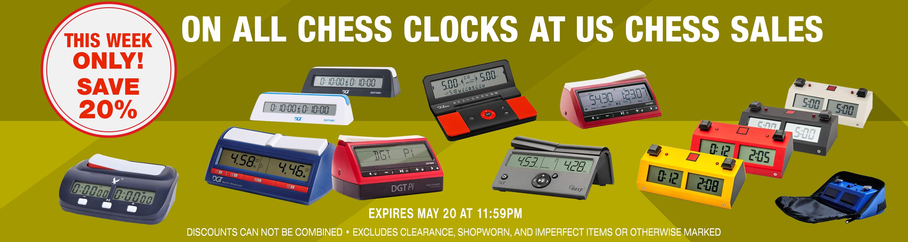 The Week Only: Save 20% on all Chess Clocks at US Chess Sales