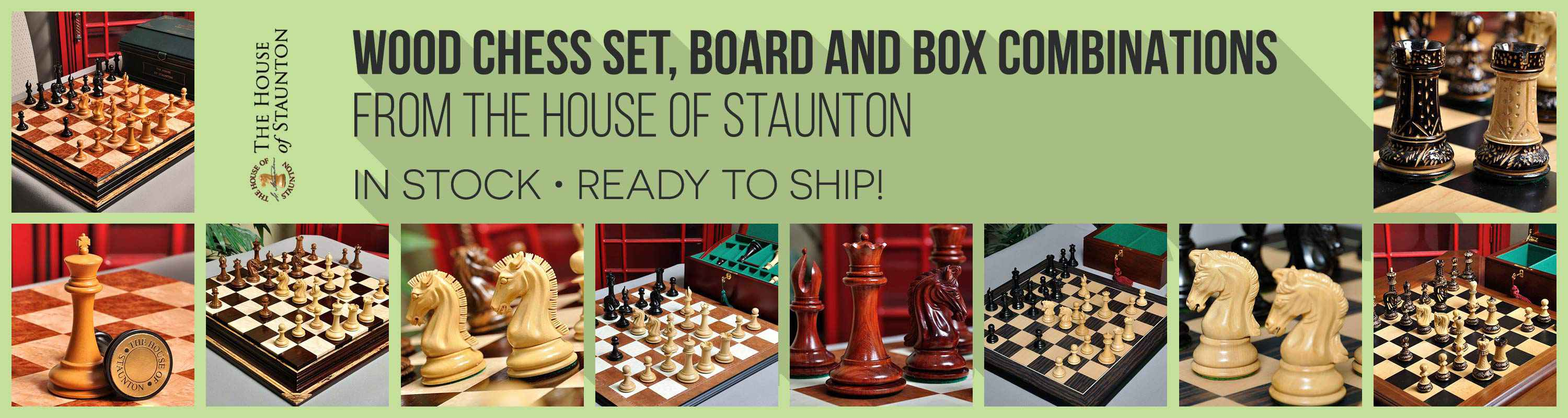 Wood Chess set, Board, and Box Combinations from The House of Staunton
