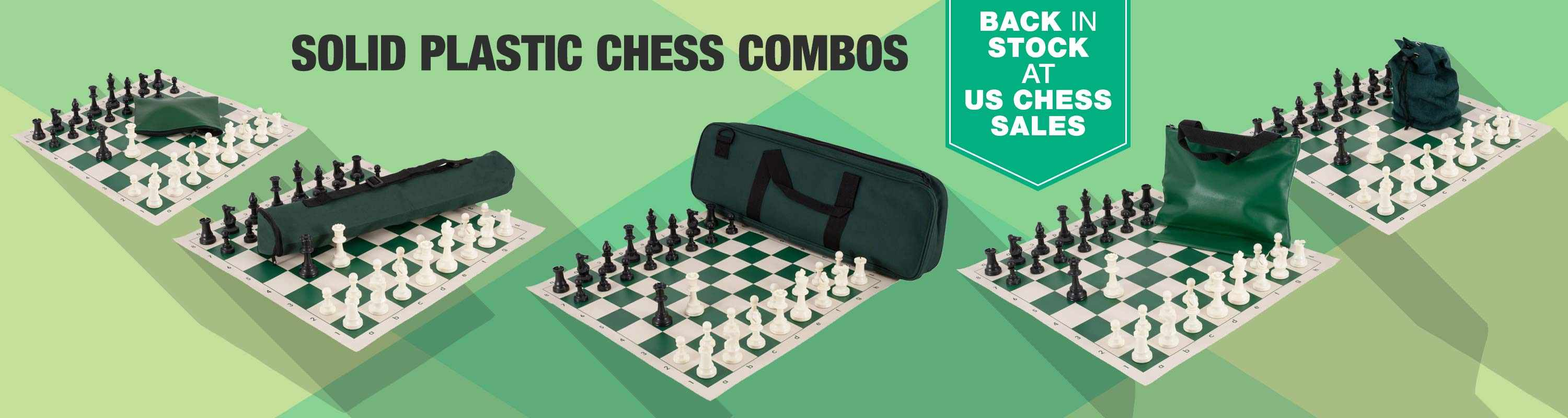 Solid plastic chess combos are back in stock!
