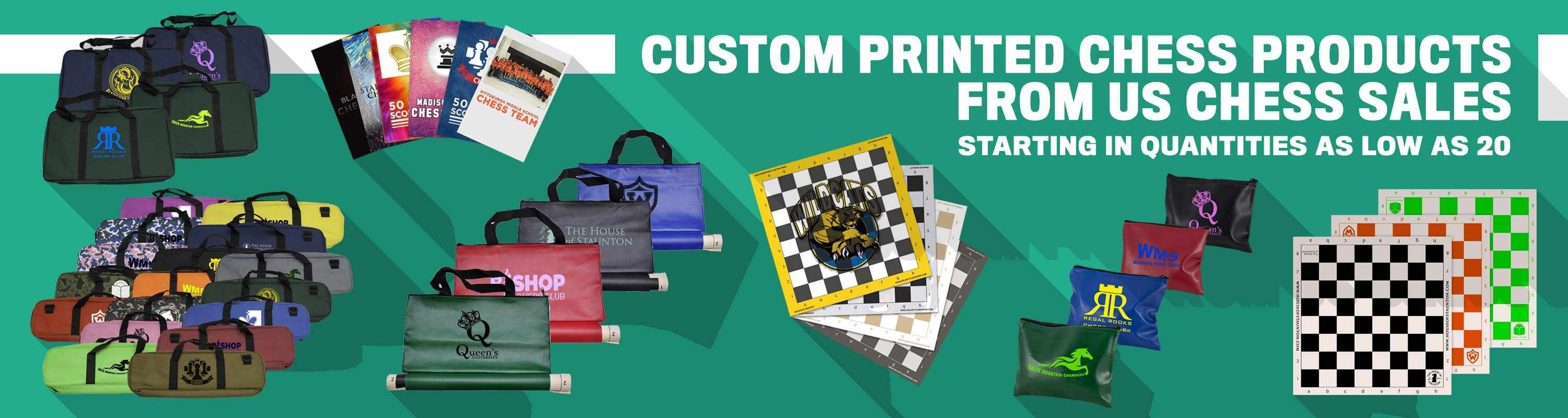 Custom Printed Chess Products from US Chess Sales! Starting in quantities as low as 20!